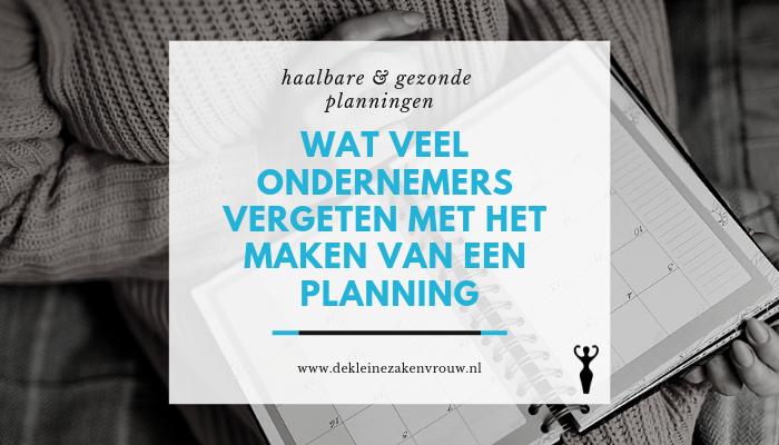 Planningen voor ondernemers
